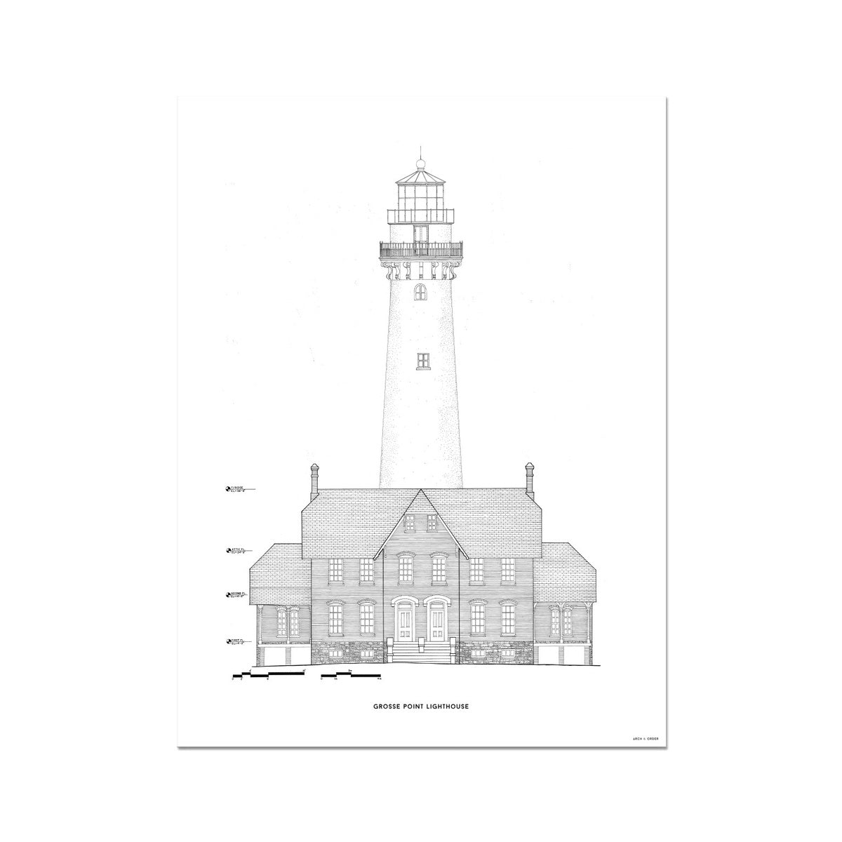 Grosse Point Lighthouse - West Elevation - White -  Etching Paper Print