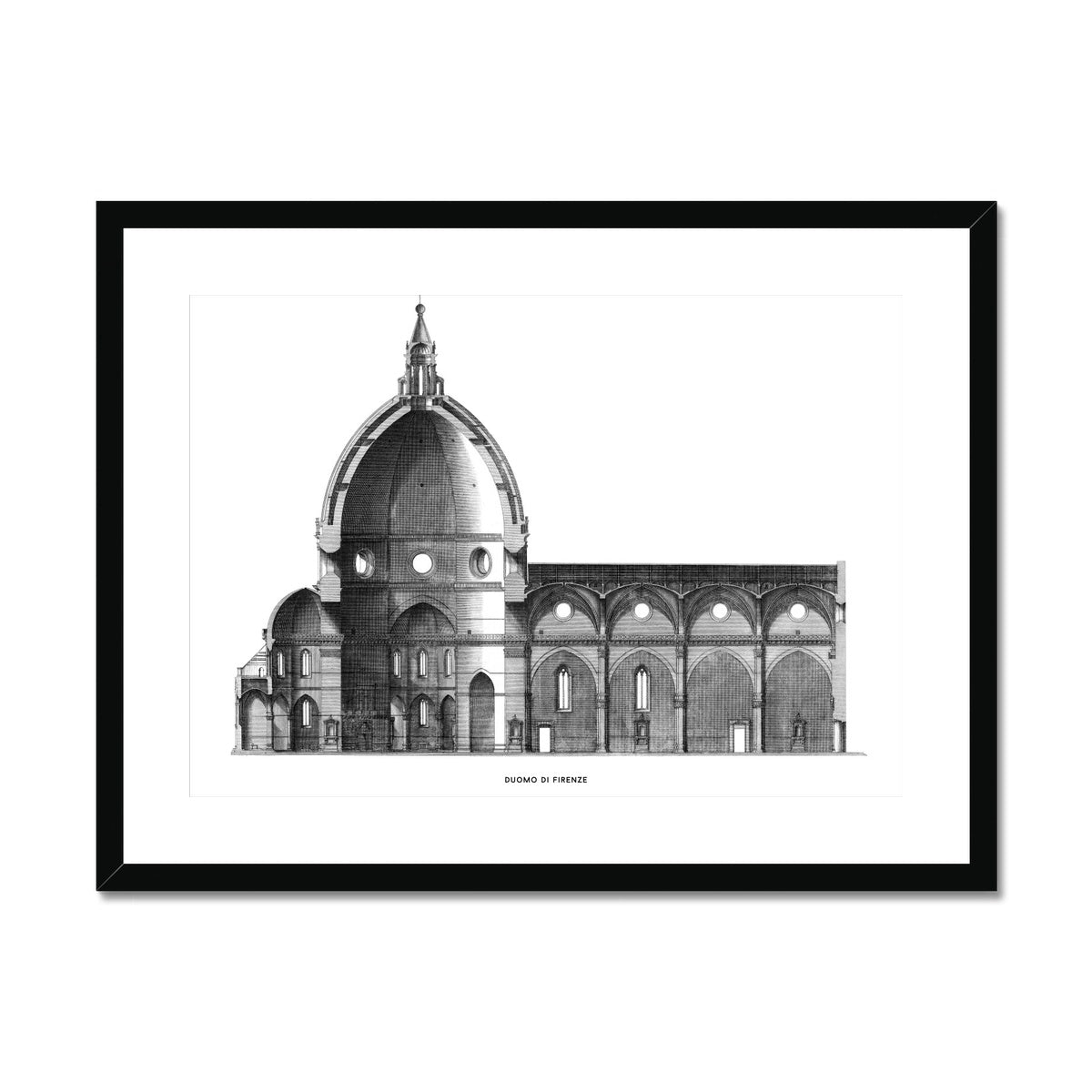 Duomo di Firenze - Transverse Cross Section - White -  Framed & Mounted Print