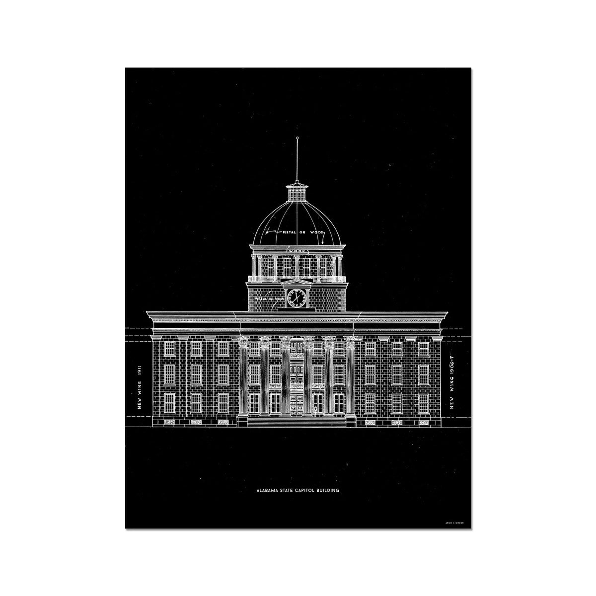 The Alabama State Capitol Building - West Elevation - Black -  Etching Paper Print