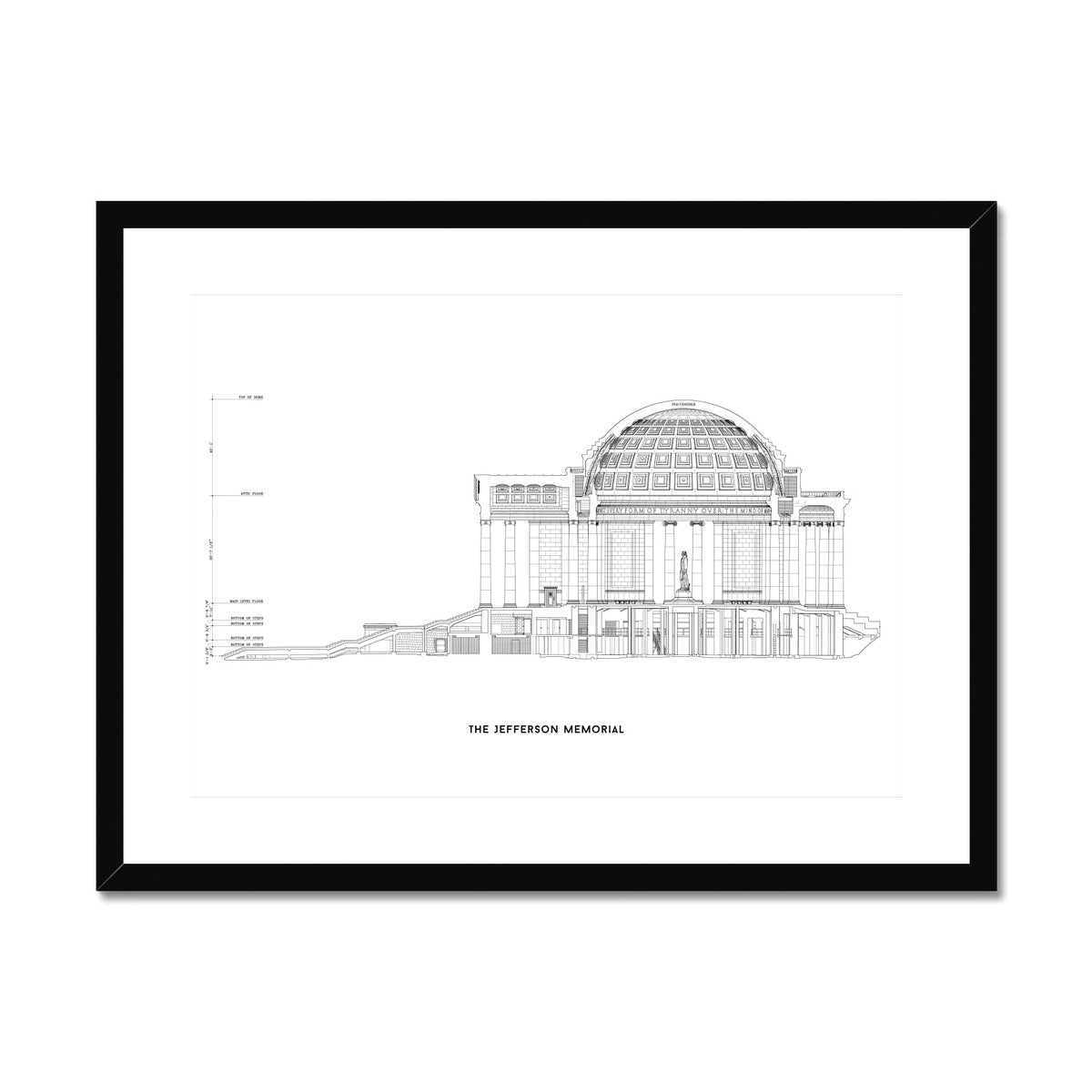 The Jefferson Memorial West Elevation Cross Section - White -  Framed & Mounted Print