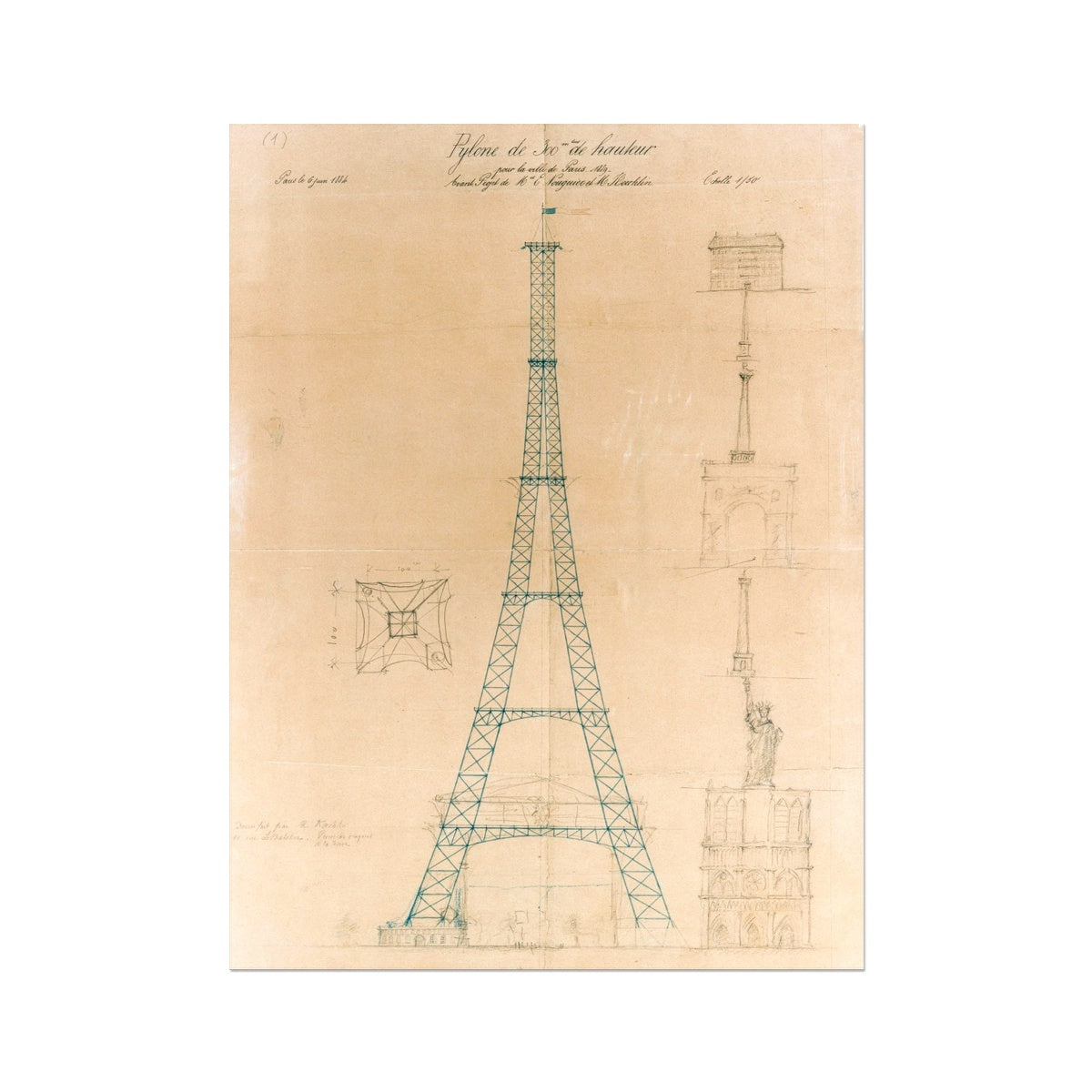 The Eiffel Tower - Original Sketch -  Etching Paper Print
