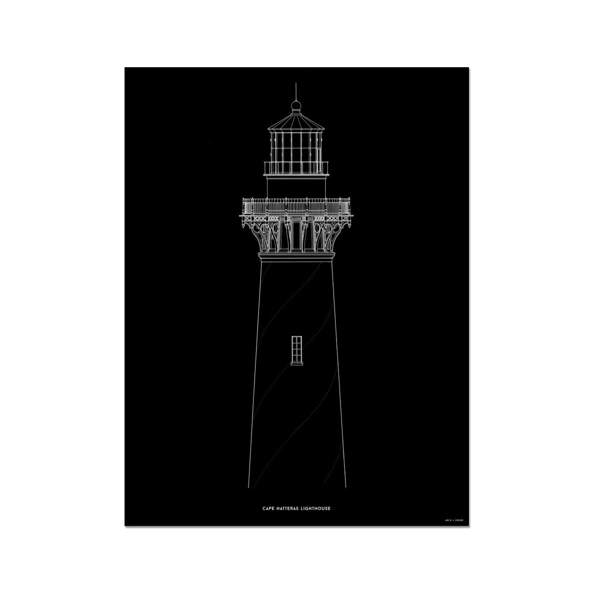 Cape Hatteras Lighthouse - North Elevation Detail - Black -  Etching Paper Print