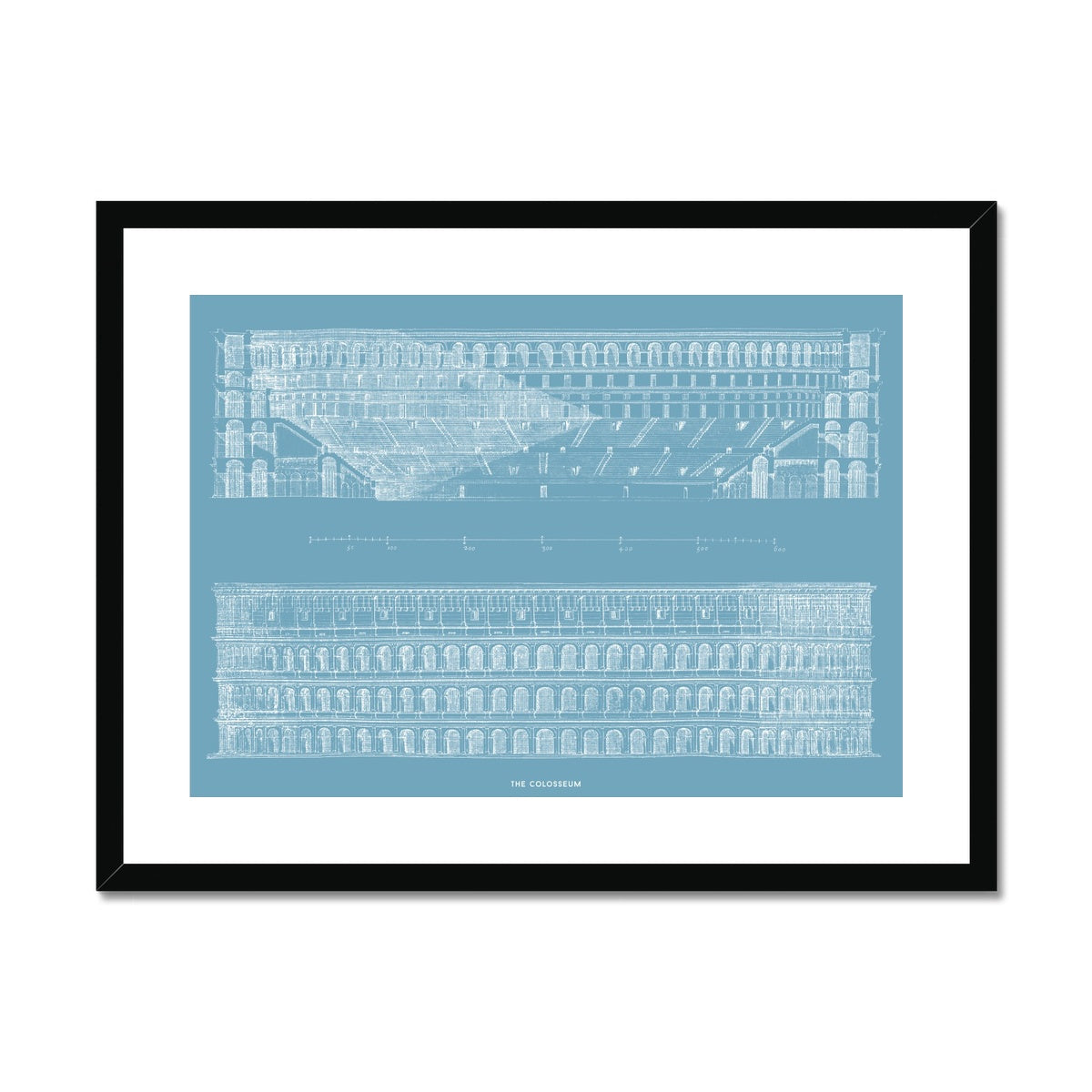 The Colosseum - Primary Elevation and Cross Section - Blue -  Framed & Mounted Print