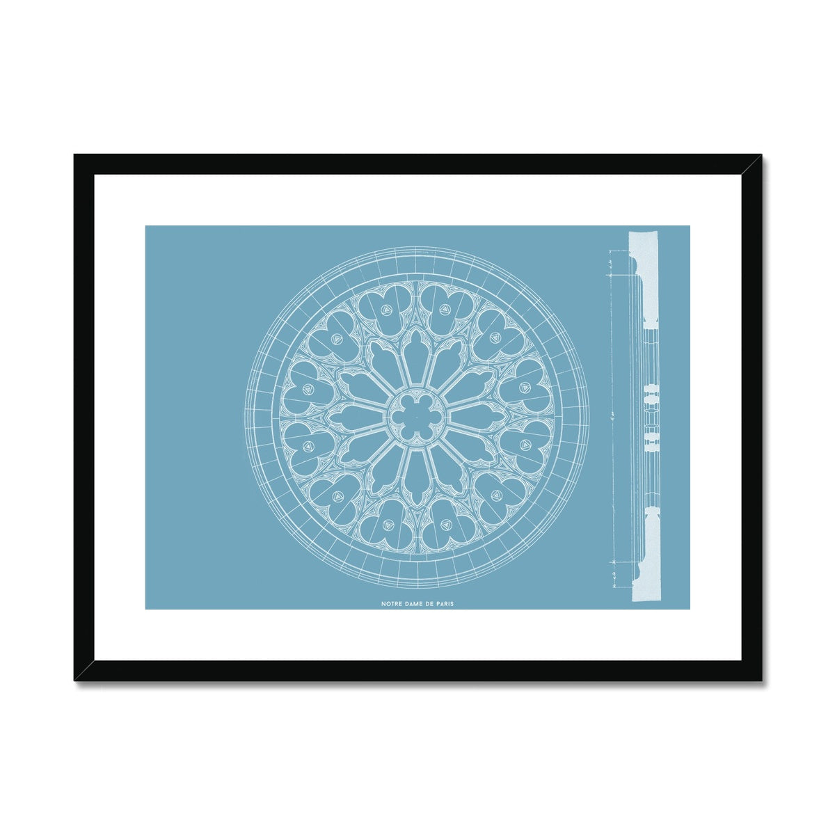 Notre Dame de Paris - Window Detail - Blue -  Framed & Mounted Print