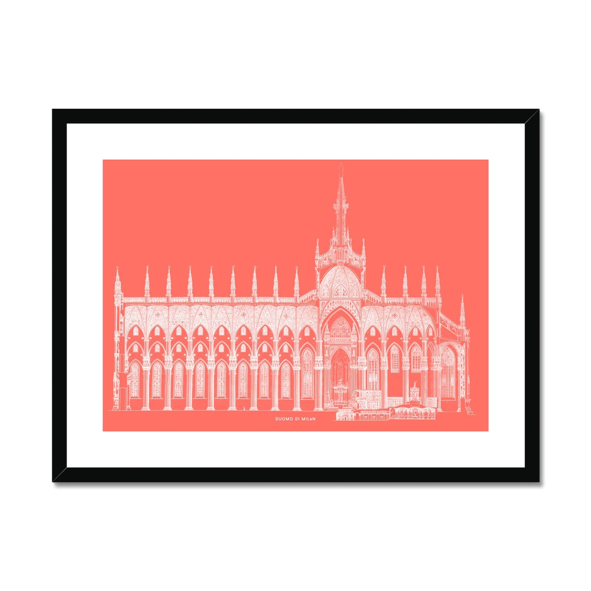 The Milan Cathedral - Side Elevation Cross Section - Red -  Framed & Mounted Print