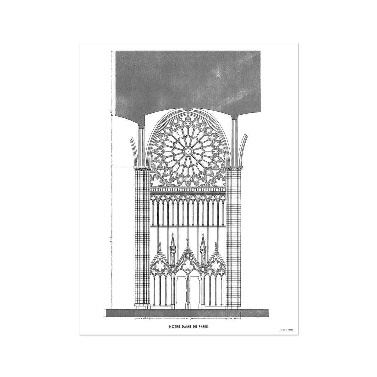Notre Dame de Paris - South Rose Window Elevation - White -  Etching Paper Print