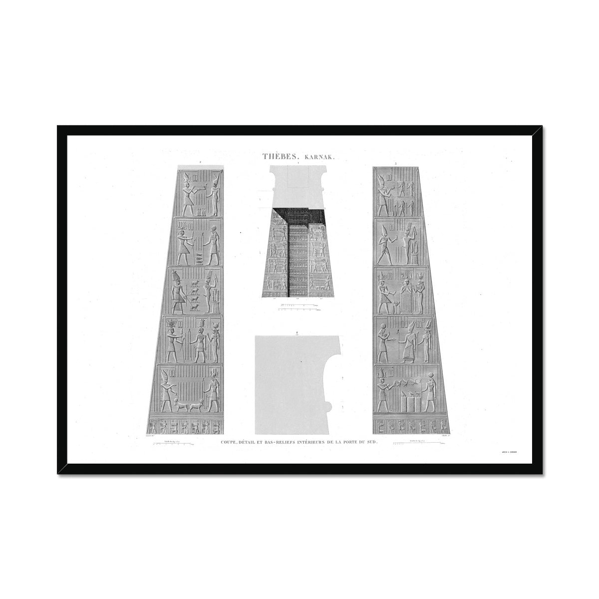 Bas Reliefs of the South Gate - Karnak - Thebes Egypt -  Framed Print
