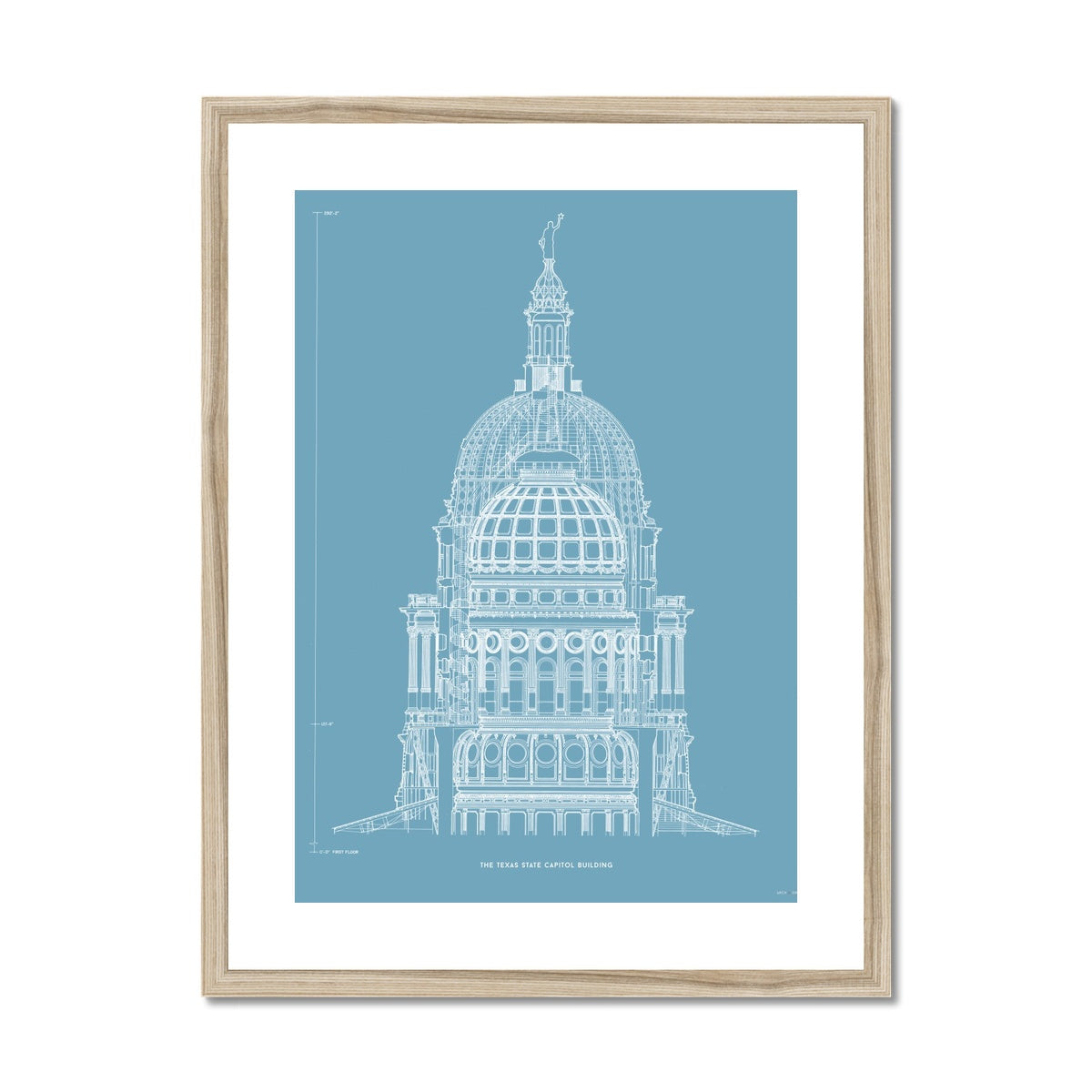 The Texas State Capitol Building - Dome Cross Section - Blue -  Framed & Mounted Print