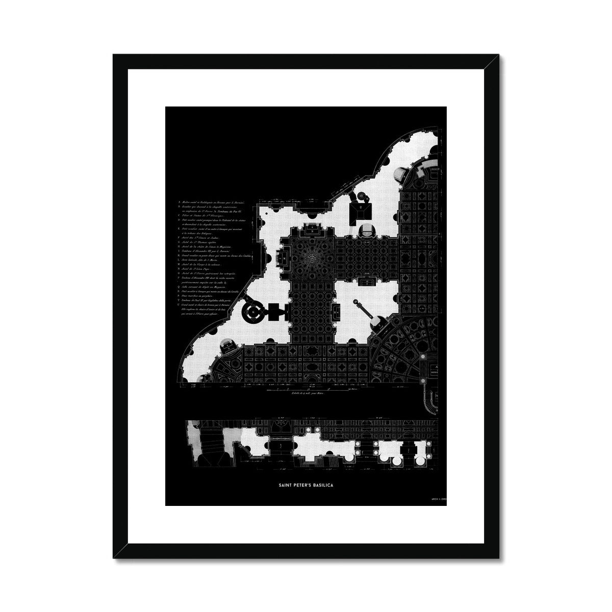 Saint Peter's Basilica - Floor Plan Detail - Black -  Framed & Mounted Print