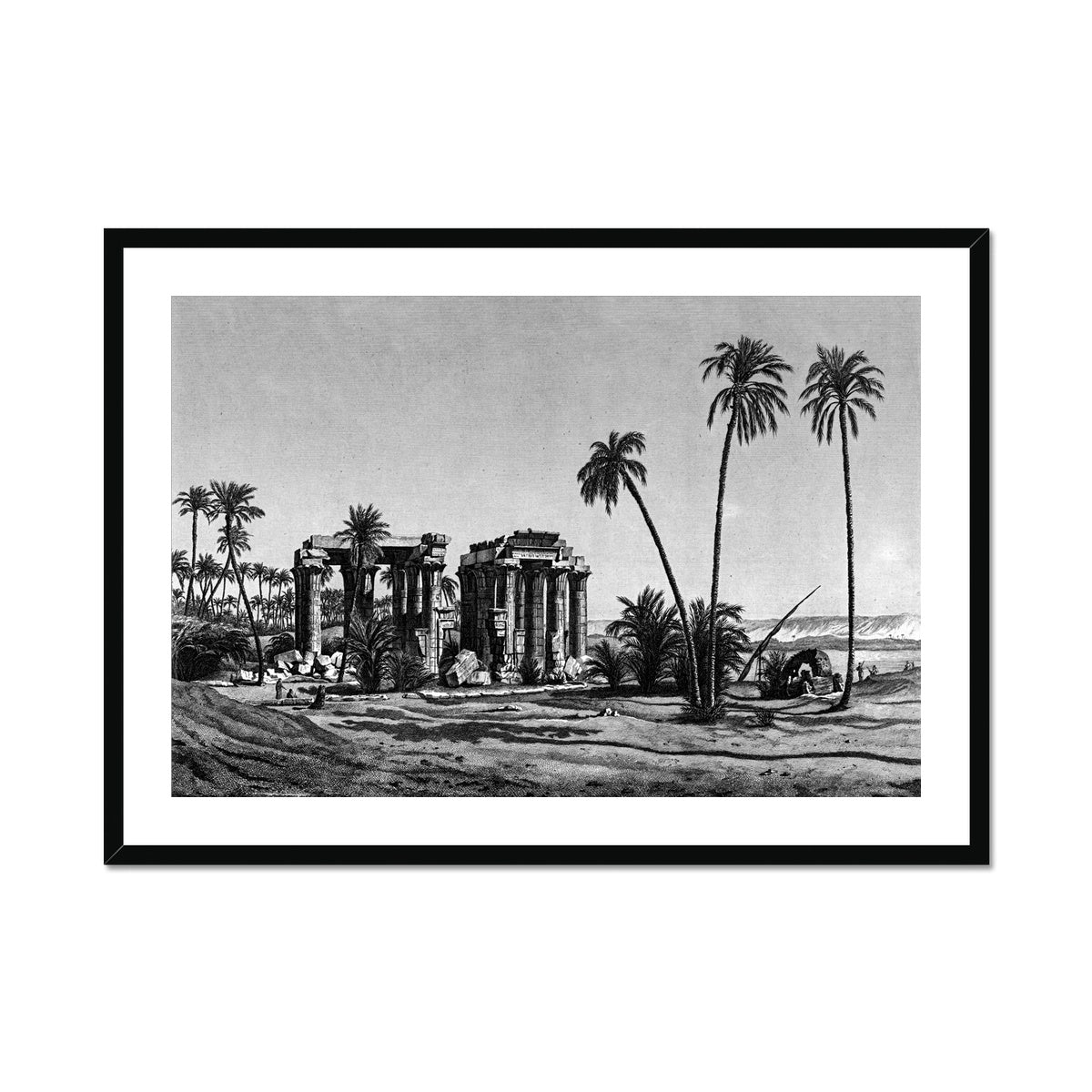 Temple Ruins Perspective View 2 - Qau el-Kebir Egypt -  Framed & Mounted Print