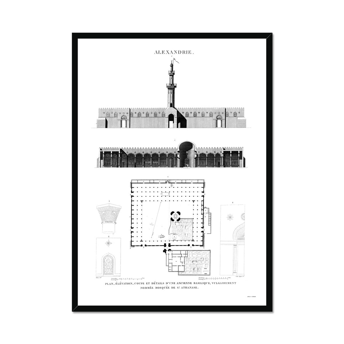 Mosque of St. Athanasius Elevation - Alexandria Egypt -  Framed Print