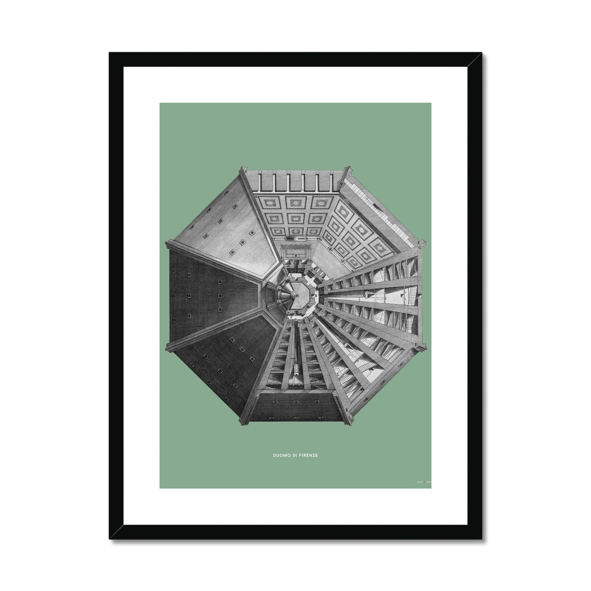 Duomo di Firenze - Top View - Green -  Framed & Mounted Print