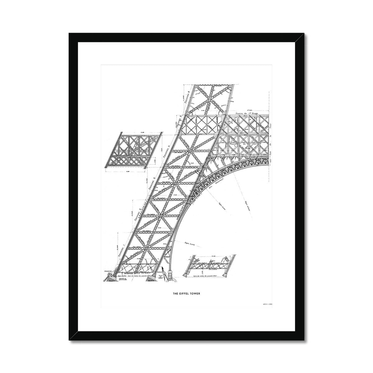 The Eiffel Tower - Base Section - White -  Framed & Mounted Print