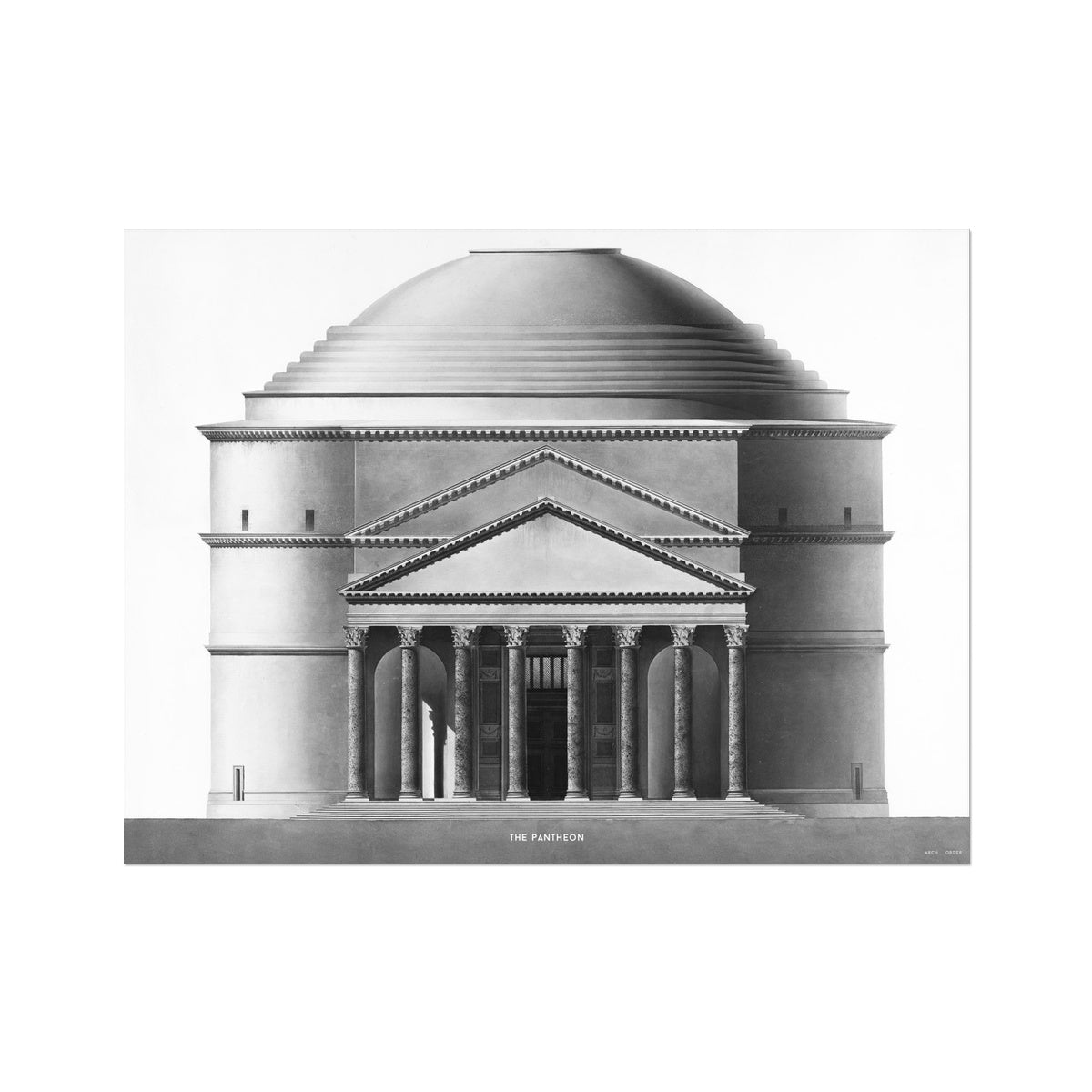 The Pantheon - Alternative Elevation -  Etching Paper Print