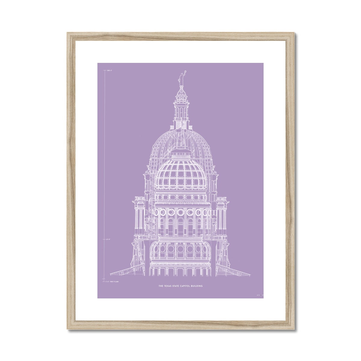 The Texas State Capitol Building - Dome Cross Section - Lavender -  Framed & Mounted Print