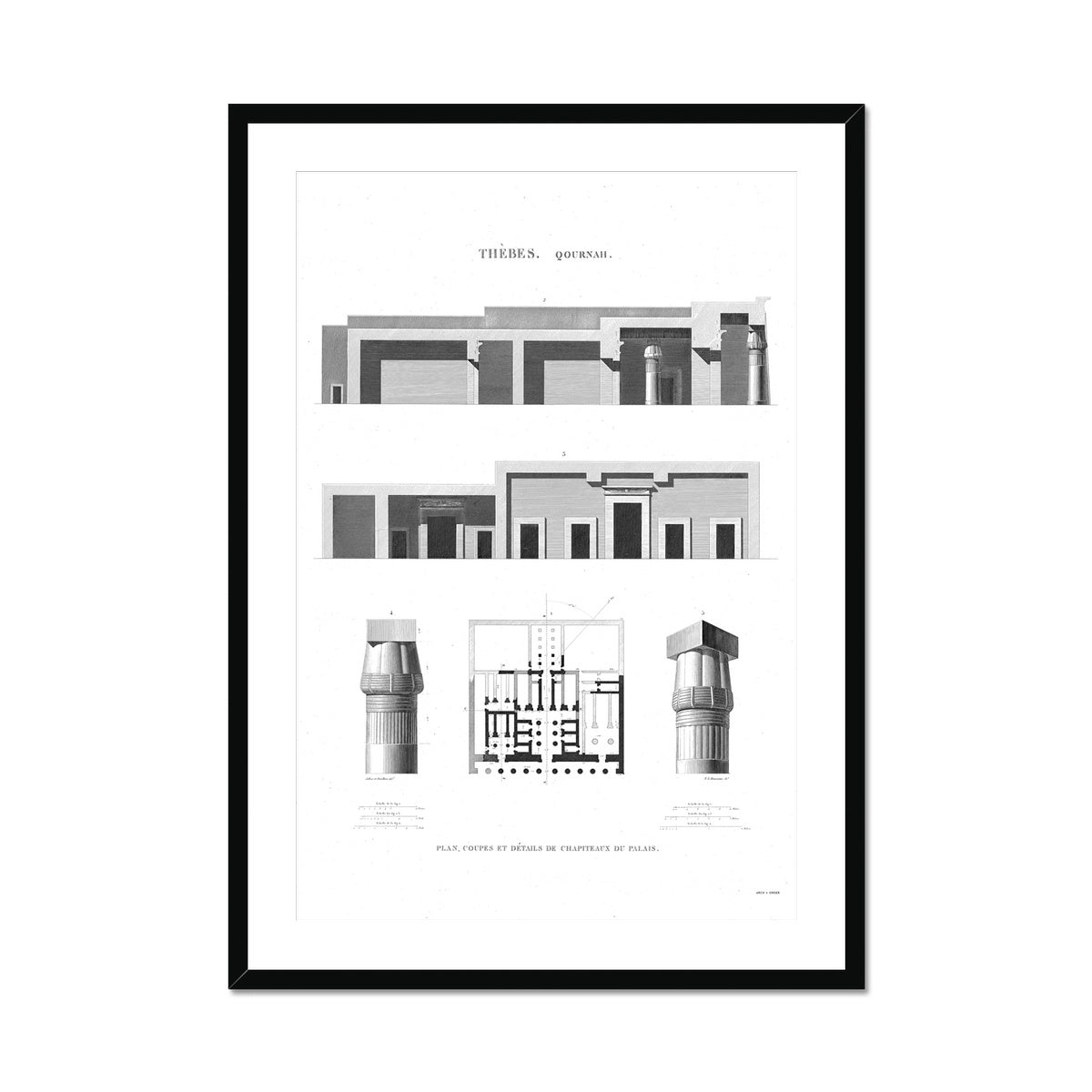 Capitals of the Palace - Qournah - Thebes Egypt -  Framed & Mounted Print