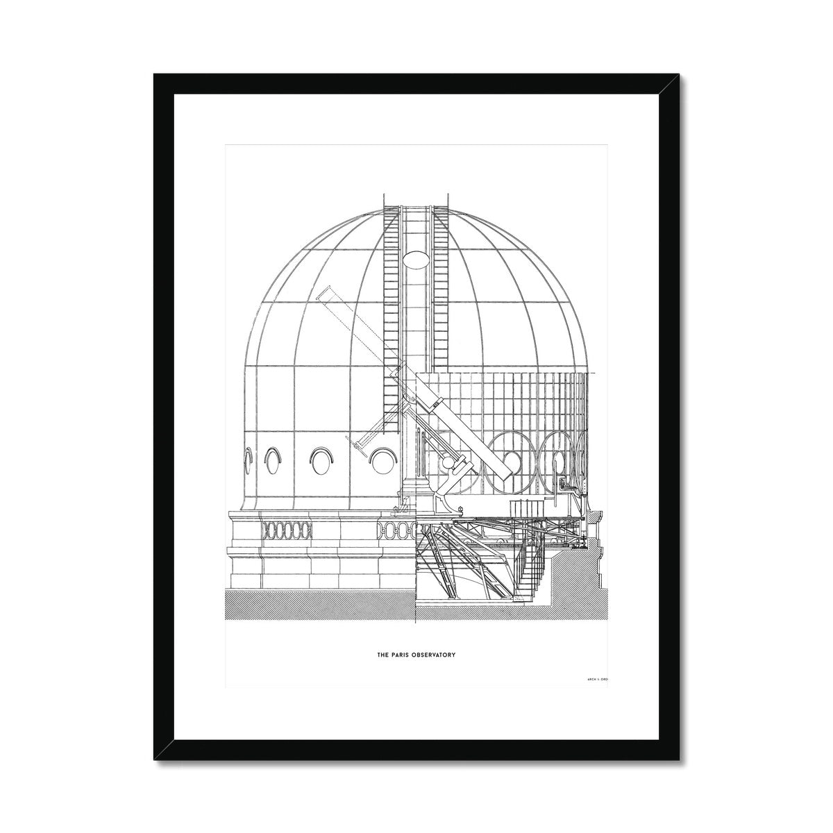 The Paris Observatory - Cross Section - White -  Framed & Mounted Print