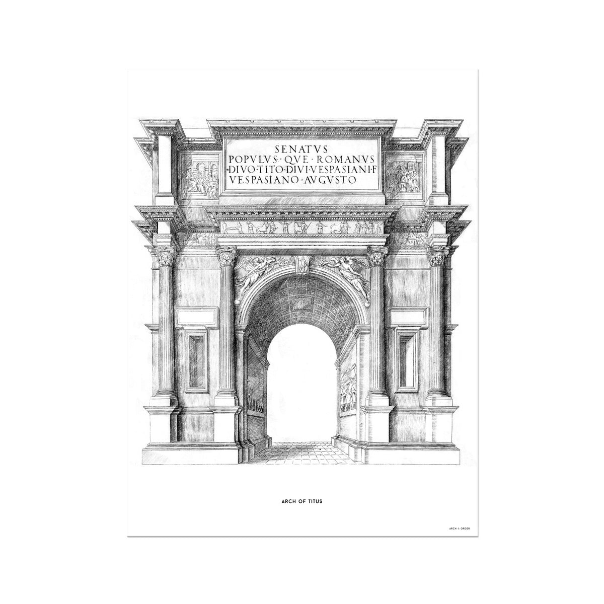 The Arch of Titus - White -  Etching Paper Print