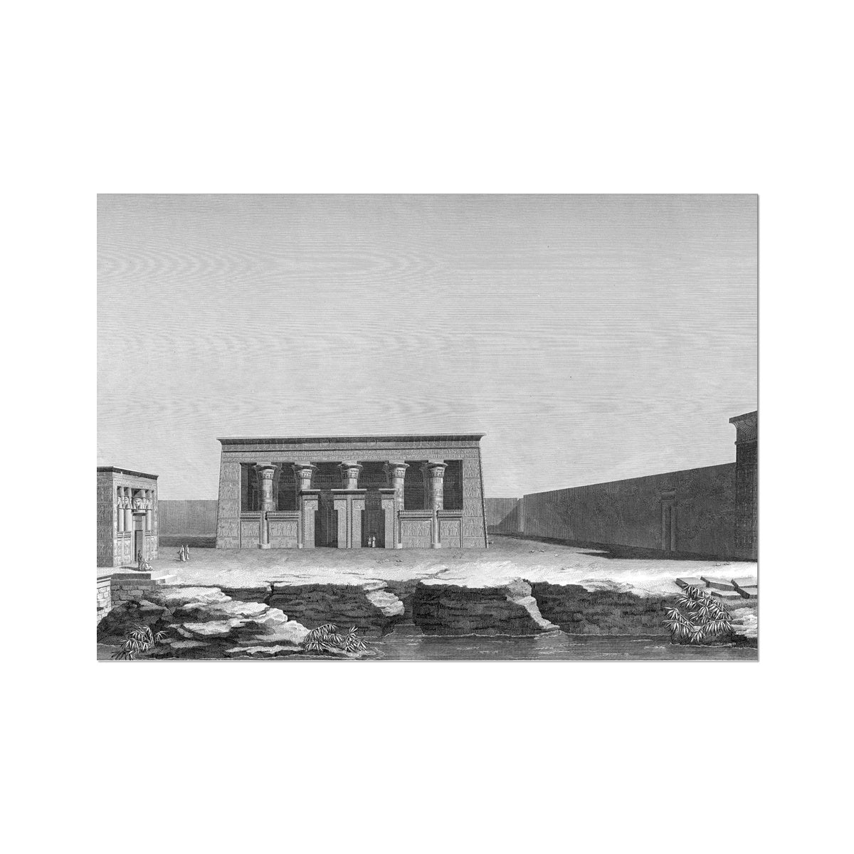 Perspective of the Two Temples - Kom Ombo Egypt -  Etching Paper Print