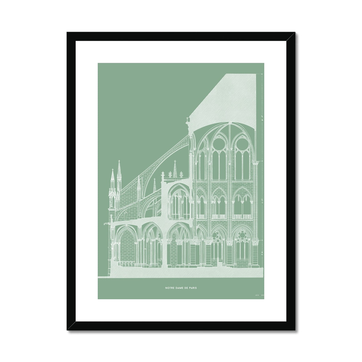 Notre Dame de Paris - Cross Section - Green -  Framed & Mounted Print