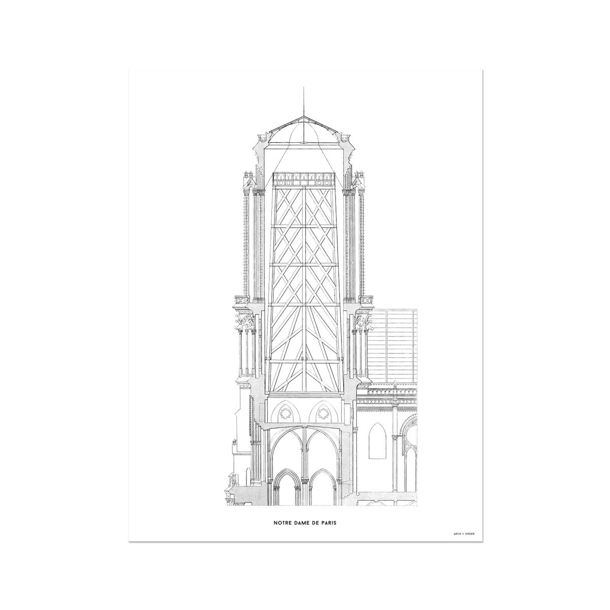 Notre Dame de Paris - Tower Cross Section - White -  Etching Paper Print