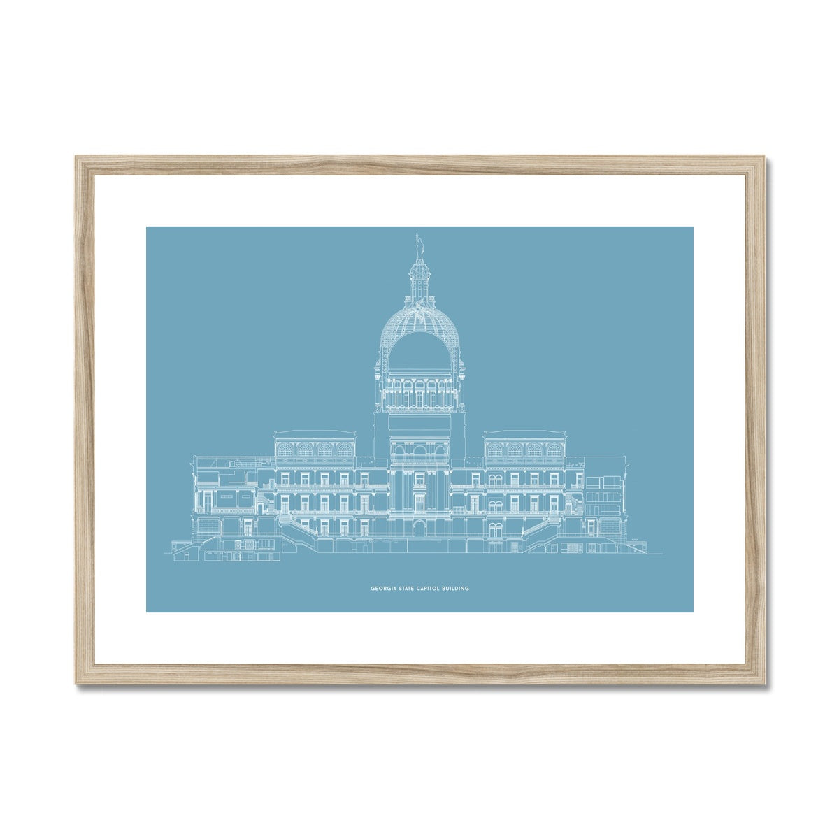 The Georgia State Capitol Building - West Elevation Cross Section - Blue -  Framed & Mounted Print