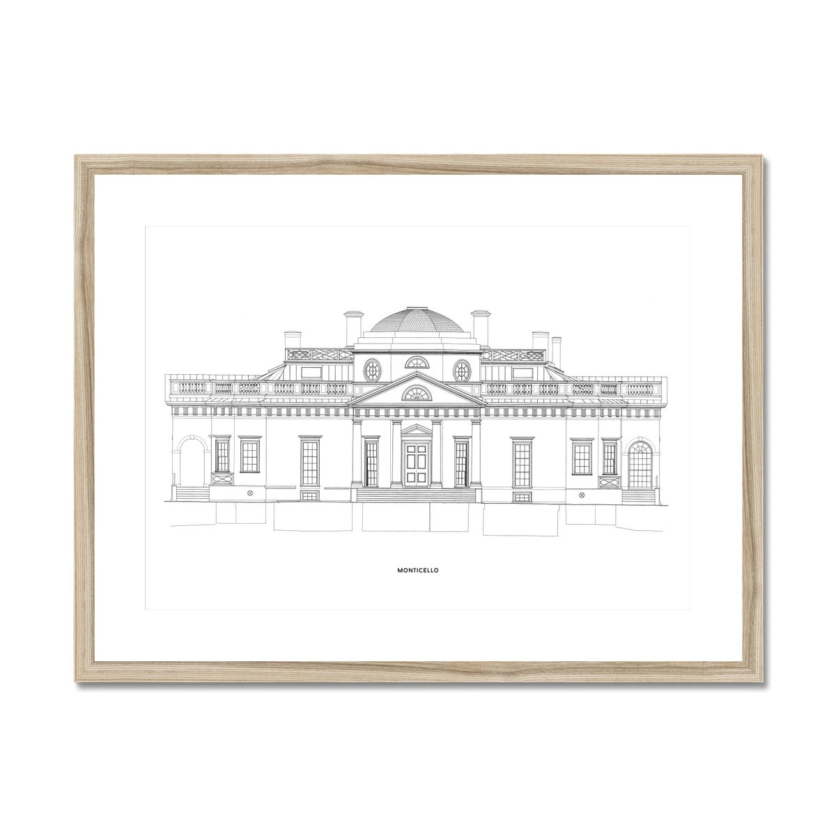 Monticello - West Elevation - White -  Framed & Mounted Print