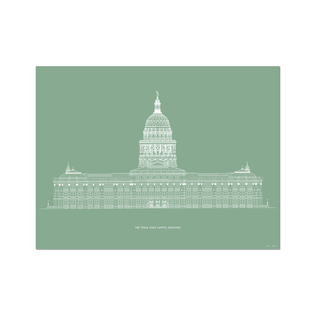 The Texas State Capitol Building - North Elevation - Green -  Etching Paper Print