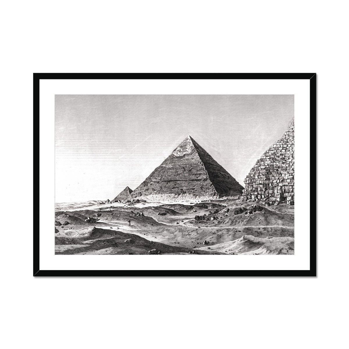 View of the Second Pyramid - Memphis Egypt -  Framed & Mounted Print