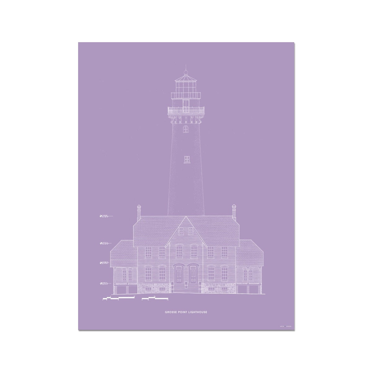 Grosse Point Lighthouse - West Elevation - Lavender -  Etching Paper Print