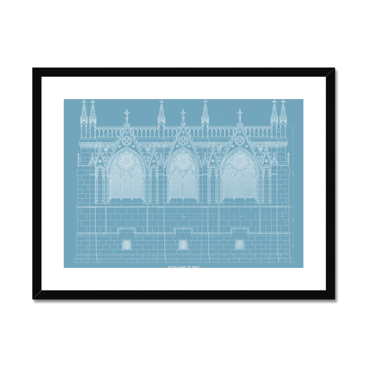 Notre Dame de Paris - Side Elevation - Blue -  Framed & Mounted Print