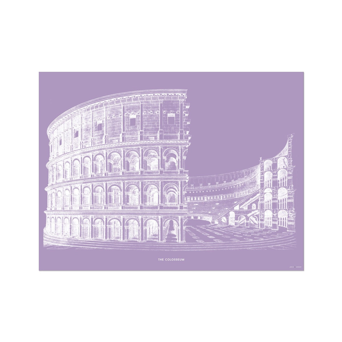The Colosseum - Alternative Cross Section - Lavender -  Etching Paper Print