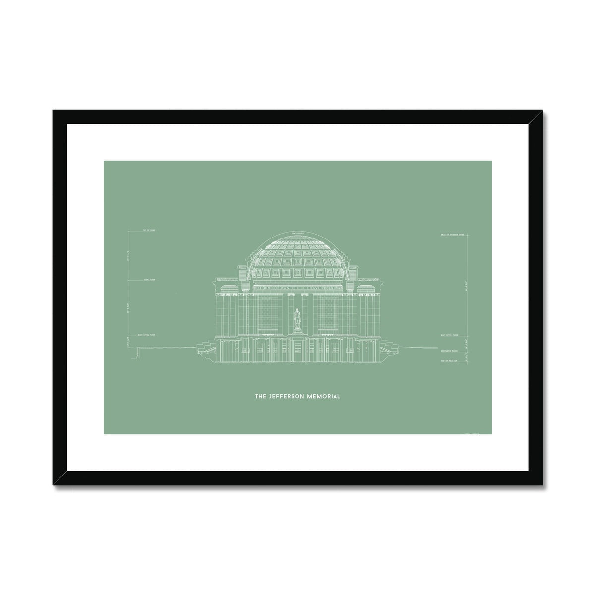 The Jefferson Memorial North Elevation Cross Section - Green -  Framed & Mounted Print