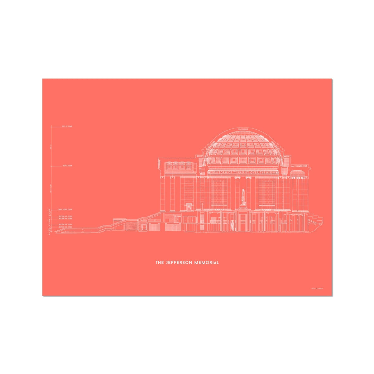 The Jefferson Memorial West Elevation Cross Section - Red -  Etching Paper Print