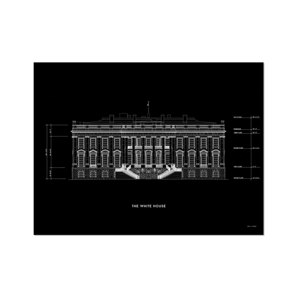 The White House South Elevation - Black -  Etching Paper Print