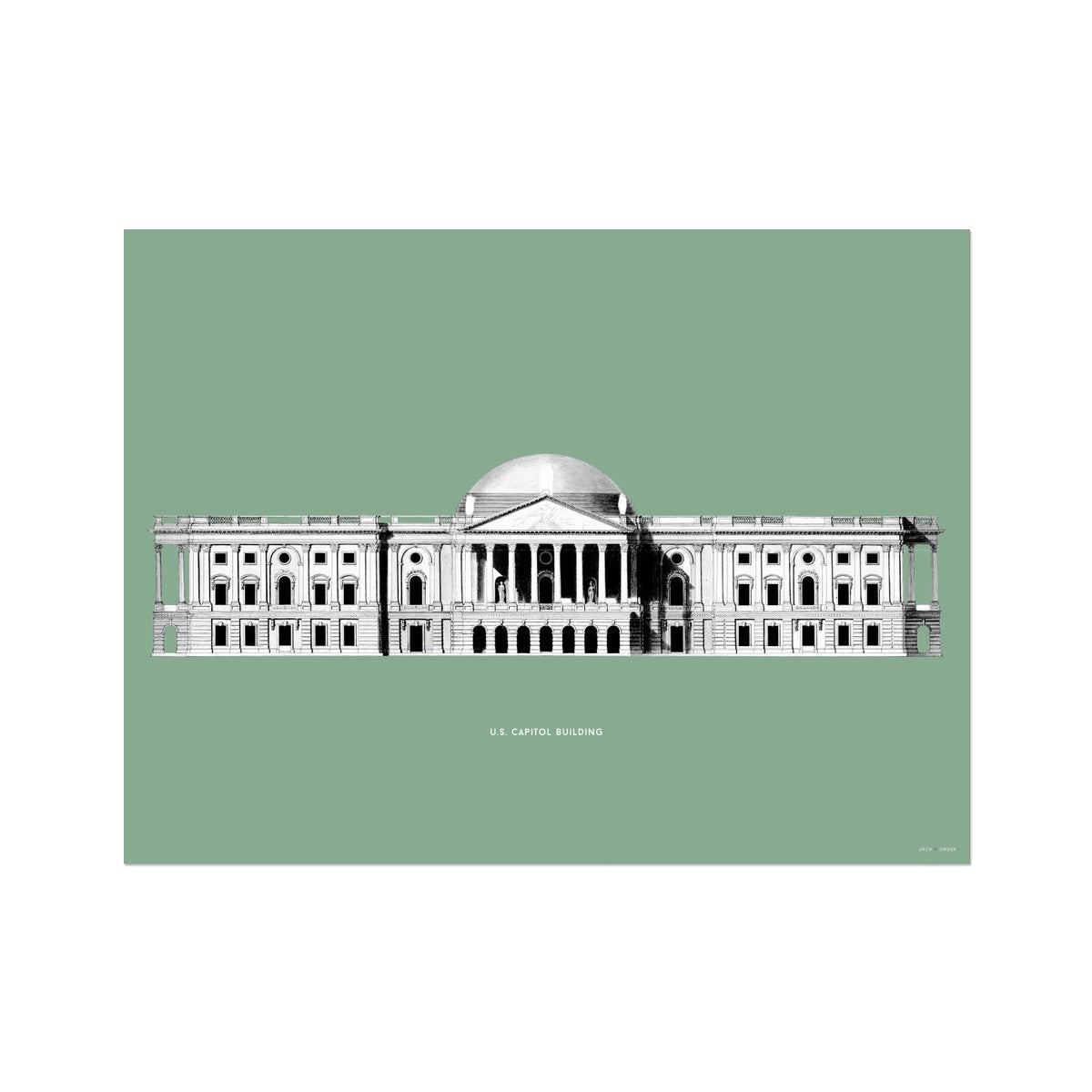 The U.S. Capitol Building - 1793 East Elevation - Green -  Etching Paper Print