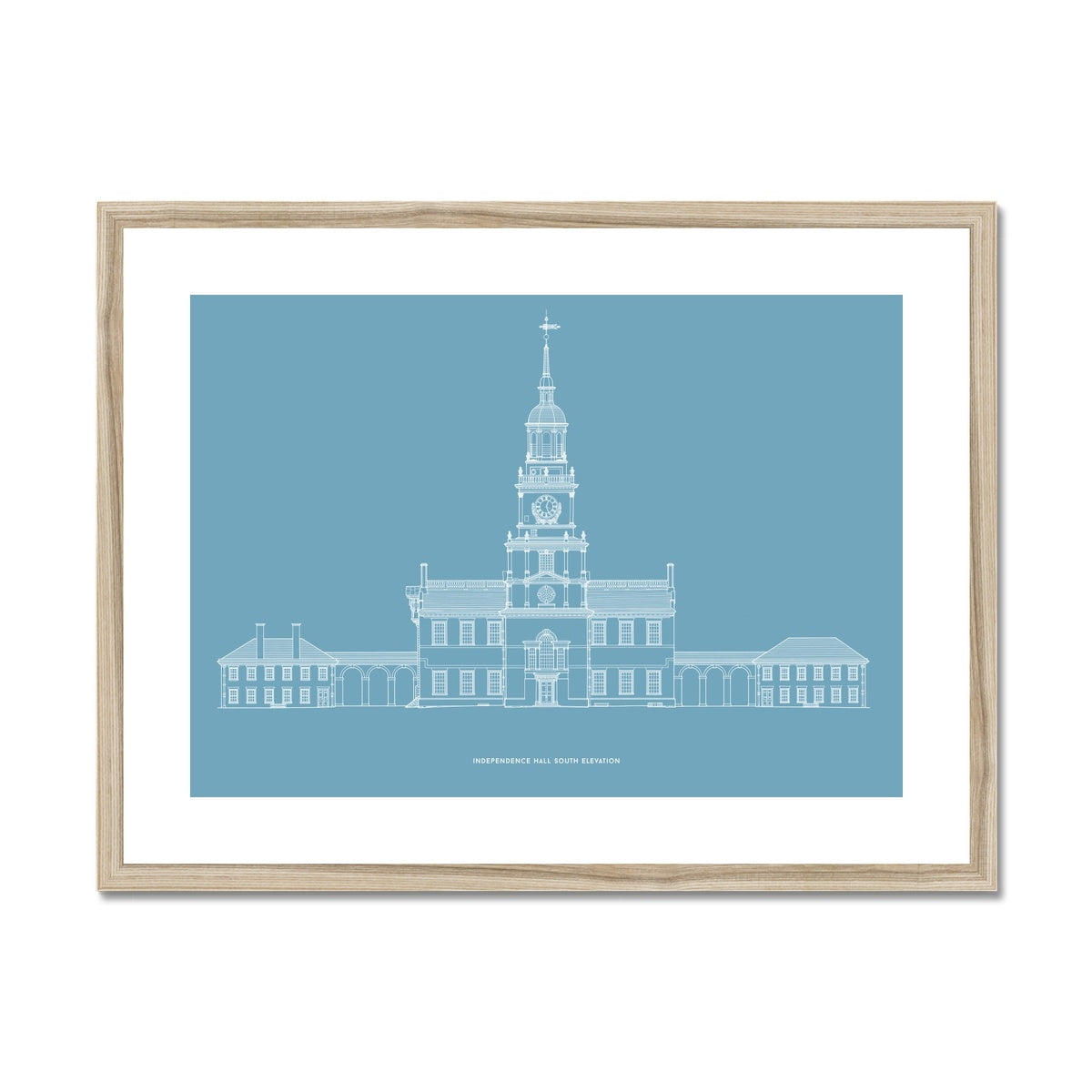 Independence Hall - South Elevation - Blue -  Framed & Mounted Print