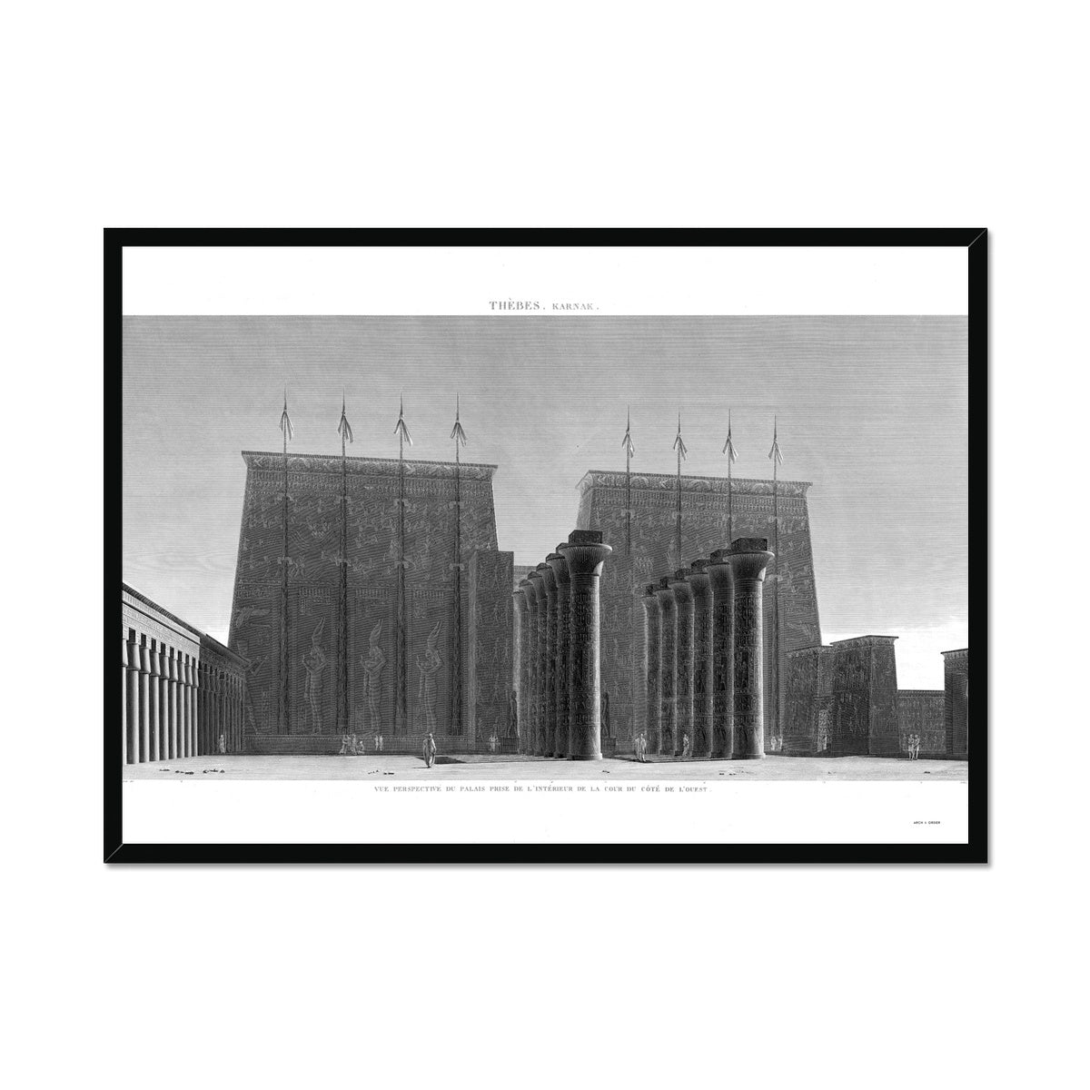 Courtyard View of the Palace - Karnak - Thebes Egypt -  Framed Print