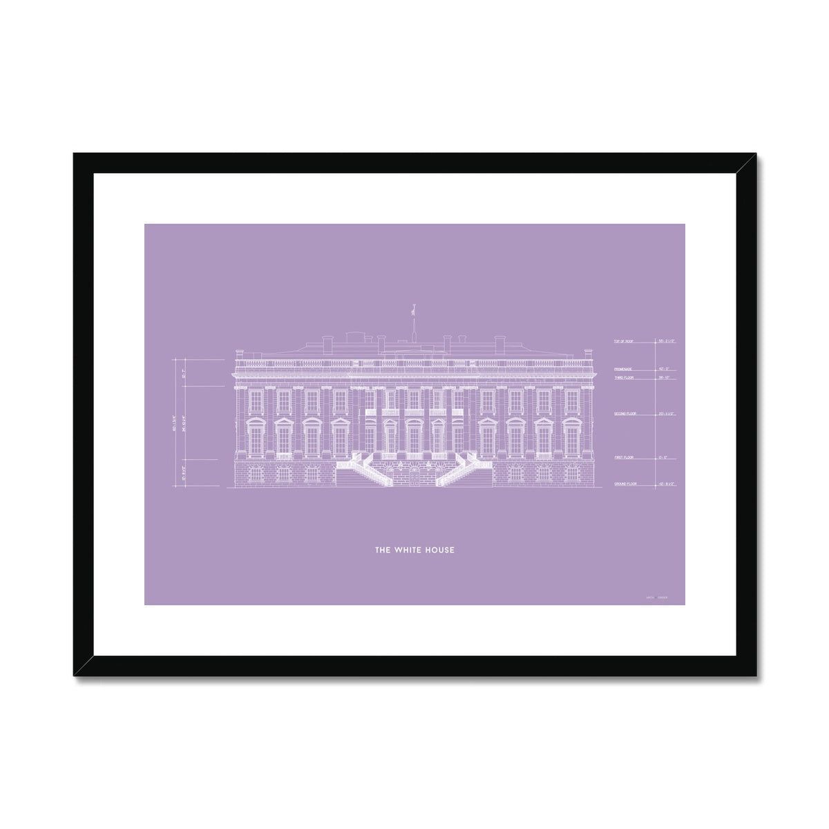 The White House South Elevation - Lavender -  Framed & Mounted Print