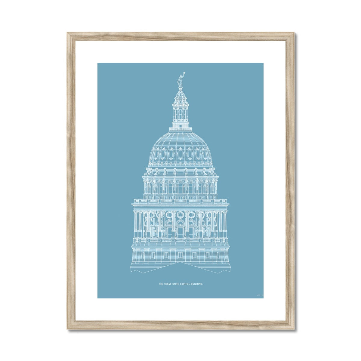 The Texas State Capitol Building - Dome South Elevation Detail - Blue -  Framed & Mounted Print
