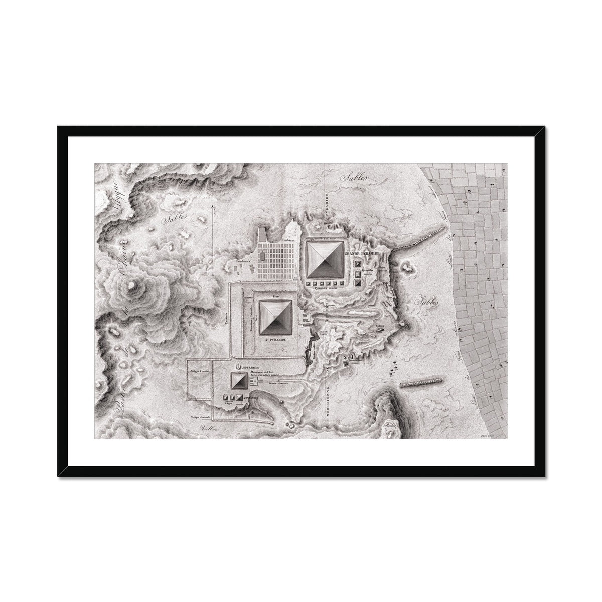 Topographic Map of the Pyramids - Memphis Egypt -  Framed & Mounted Print