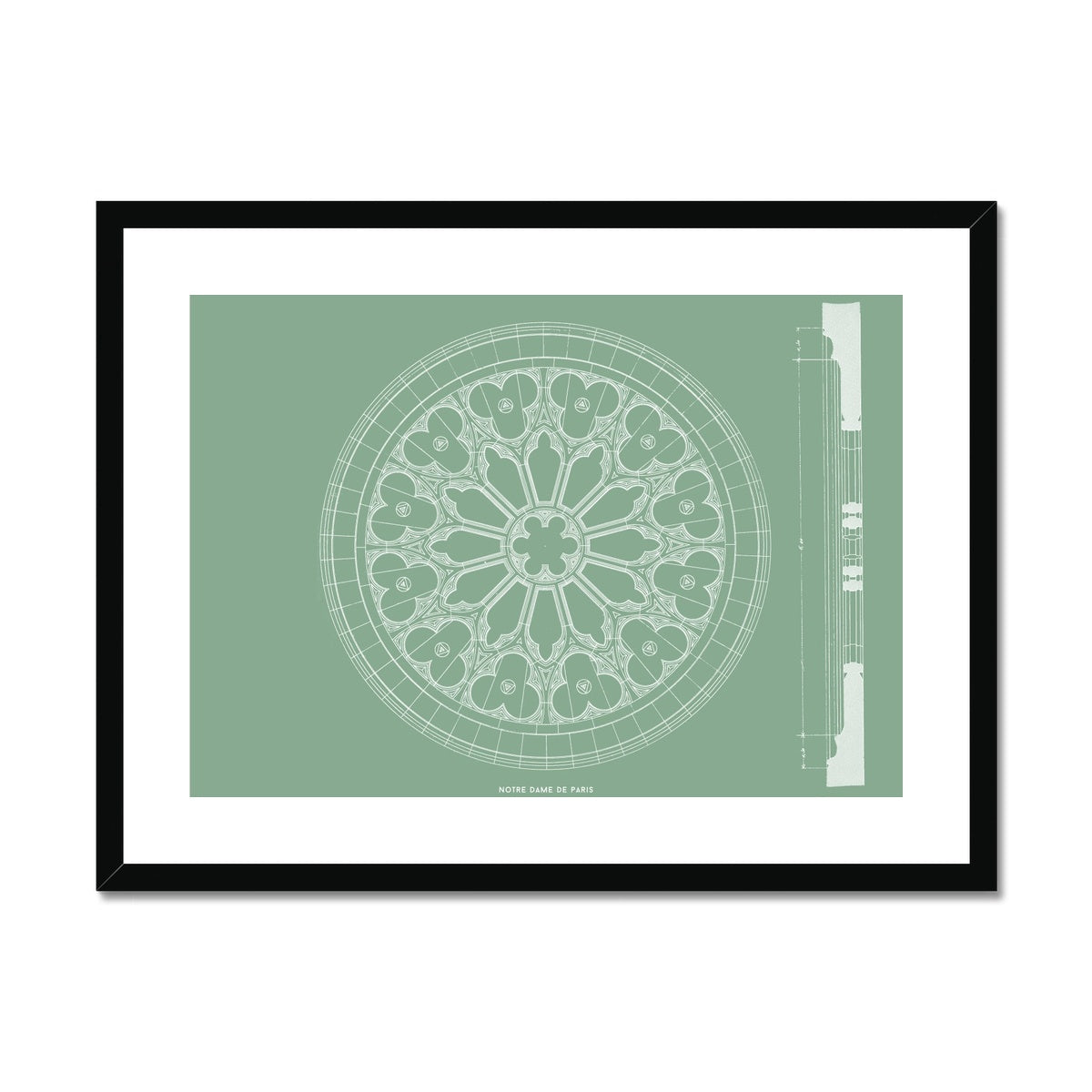 Notre Dame de Paris - Window Detail - Green -  Framed & Mounted Print