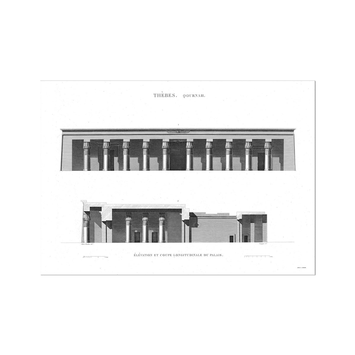 Palace Primary Elevation - Qournah - Thebes Egypt -  Etching Paper Print