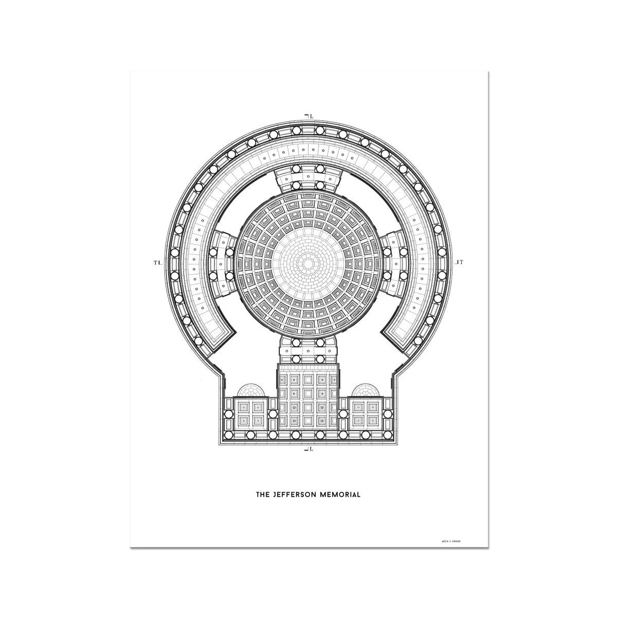 The Jefferson Memorial Reverse Ceiling Detail - White -  Etching Paper Print