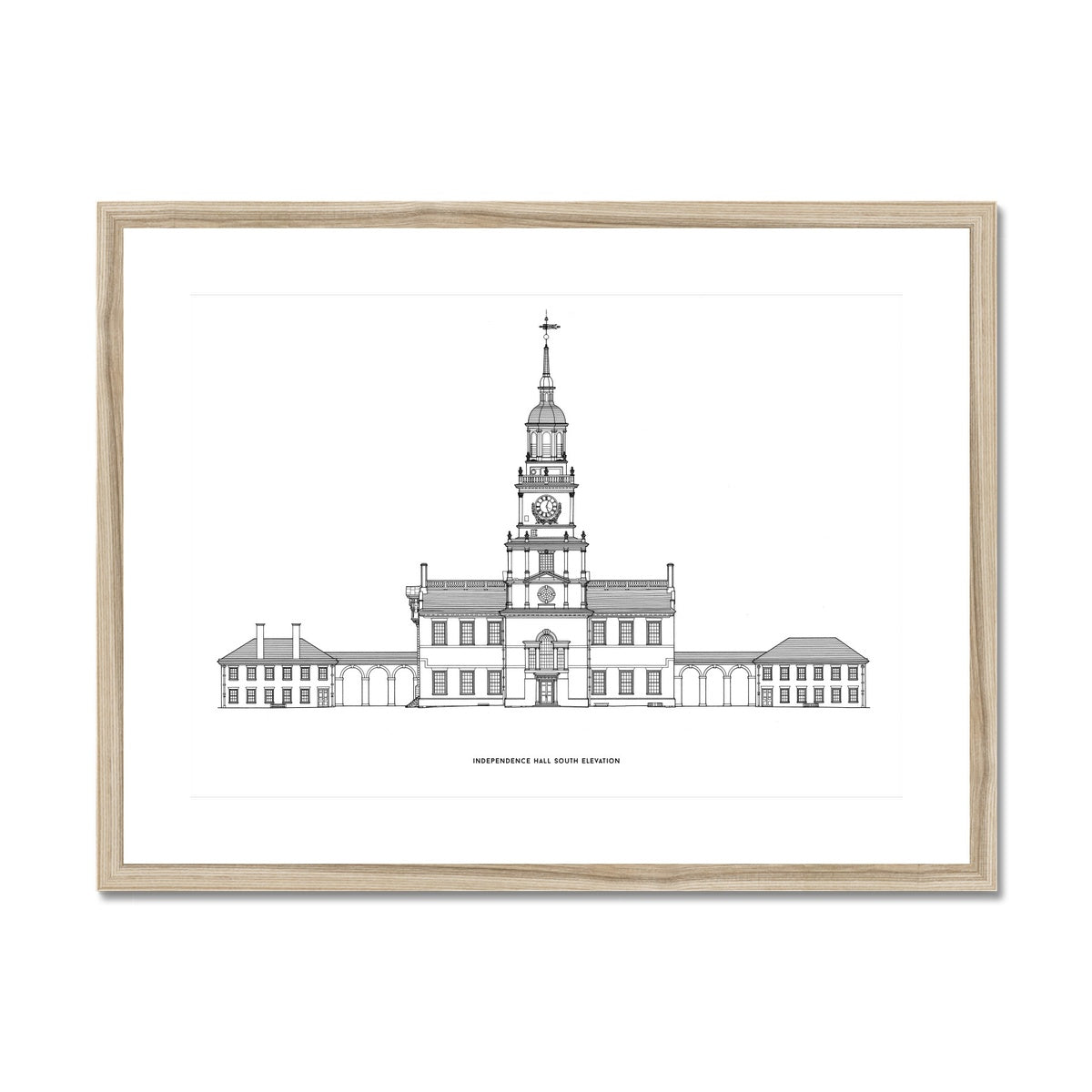 Independence Hall - South Elevation - White -  Framed & Mounted Print
