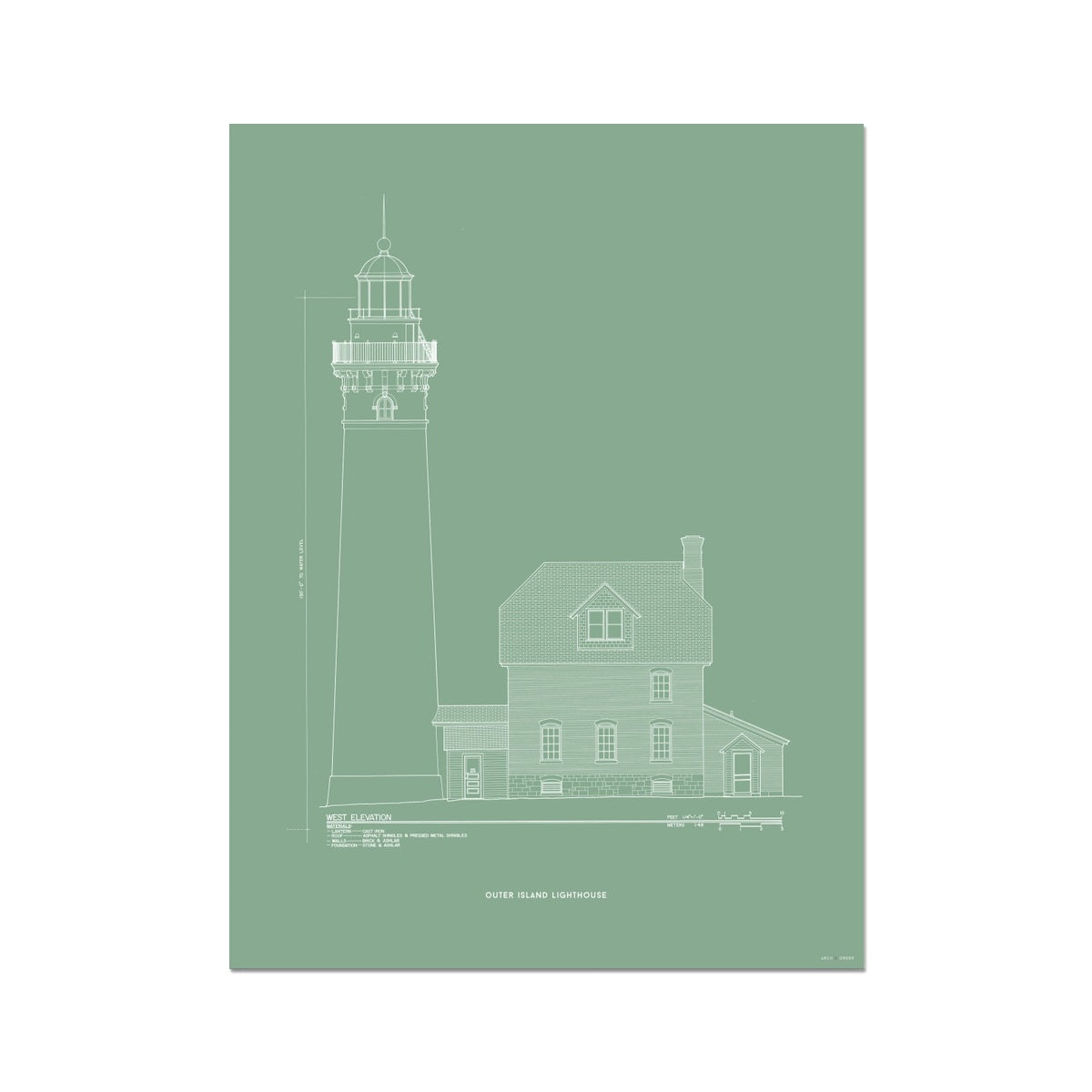 Outer Island Lighthouse - West Elevation - Green -  Etching Paper Print