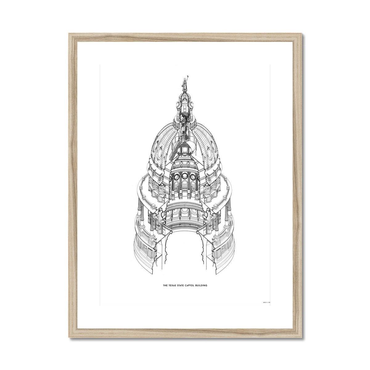 The Texas State Capitol Building - Dome Axonometric Cross Section - White -  Framed & Mounted Print