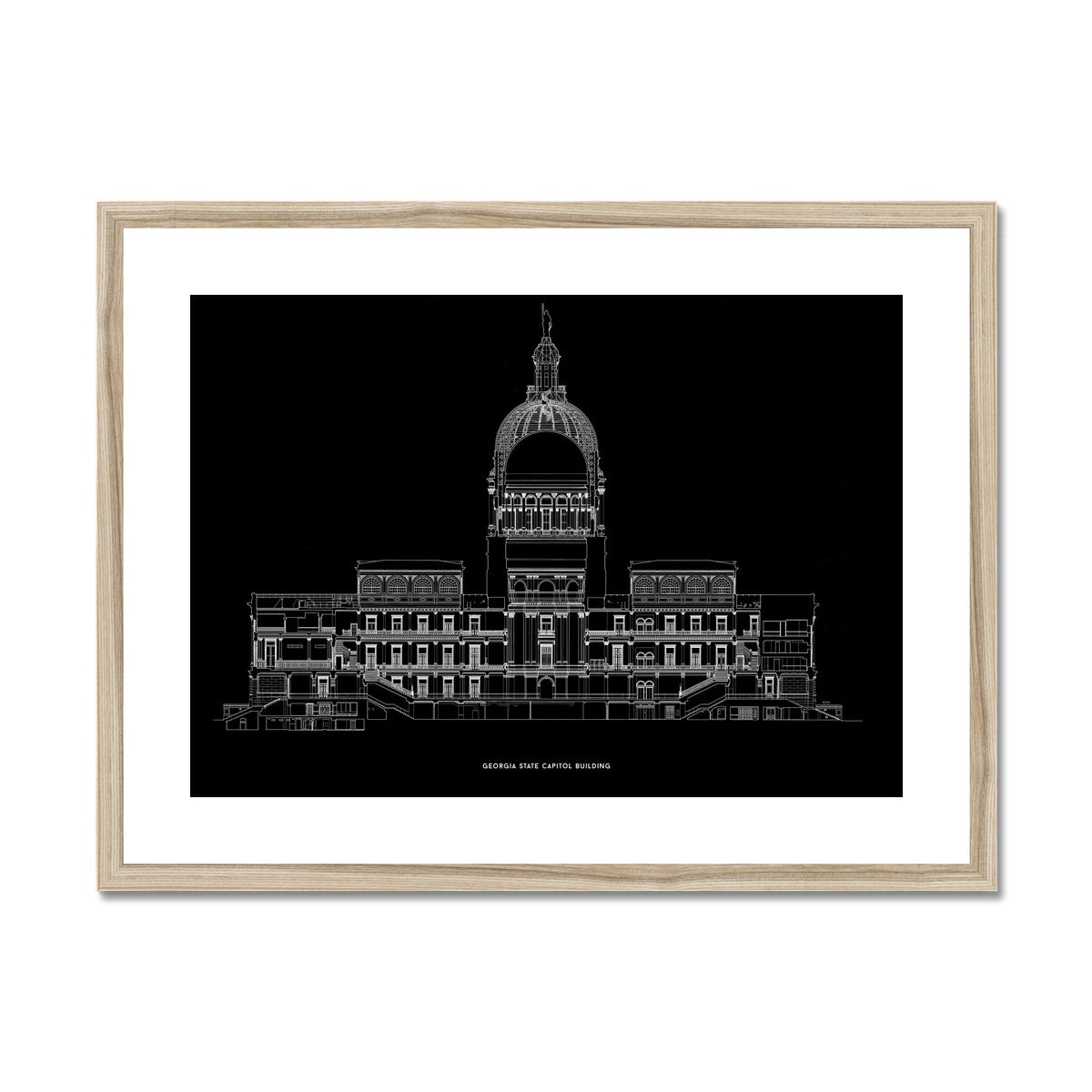The Georgia State Capitol Building - West Elevation Cross Section - Black -  Framed & Mounted Print