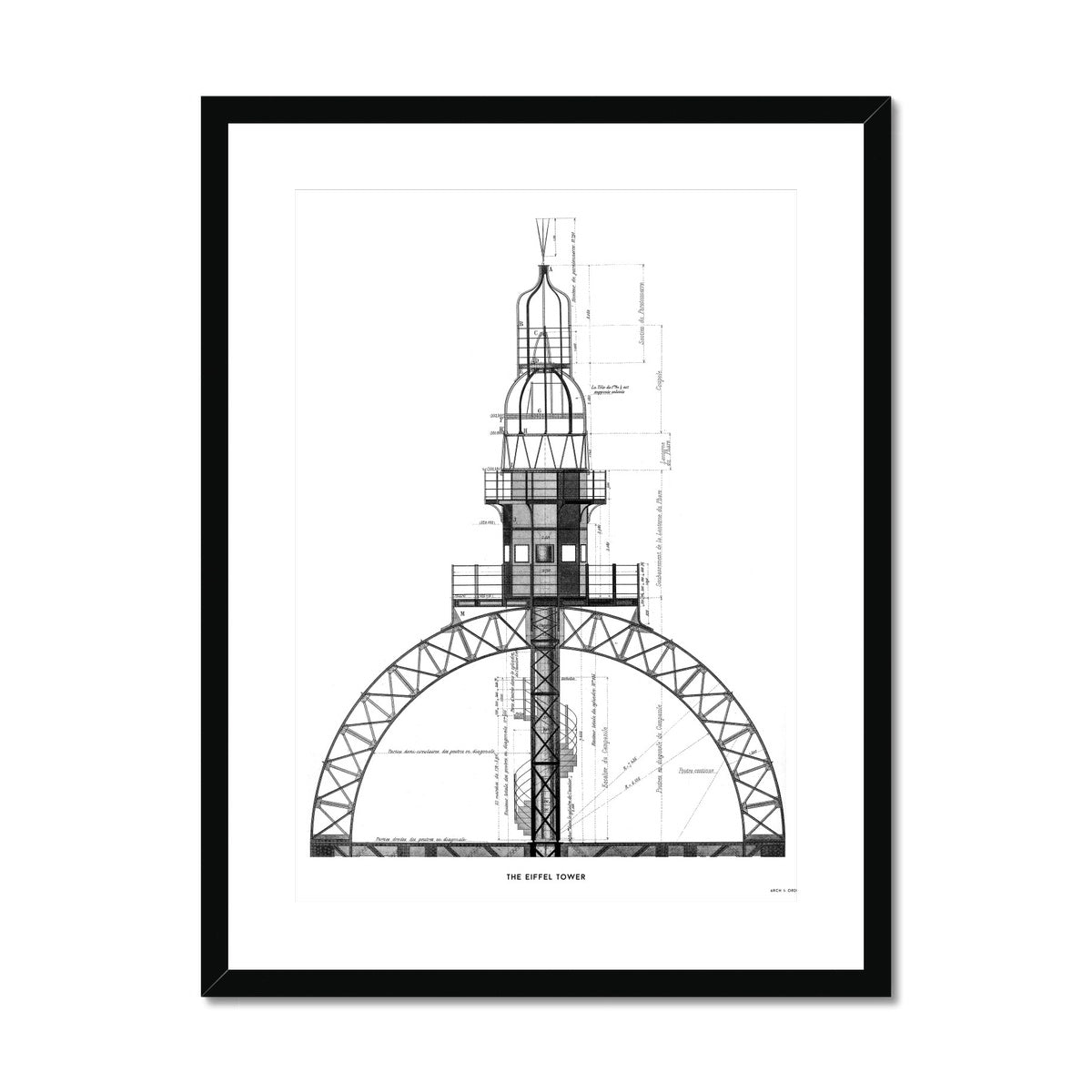 The Eiffel Tower - Top Section - White -  Framed & Mounted Print