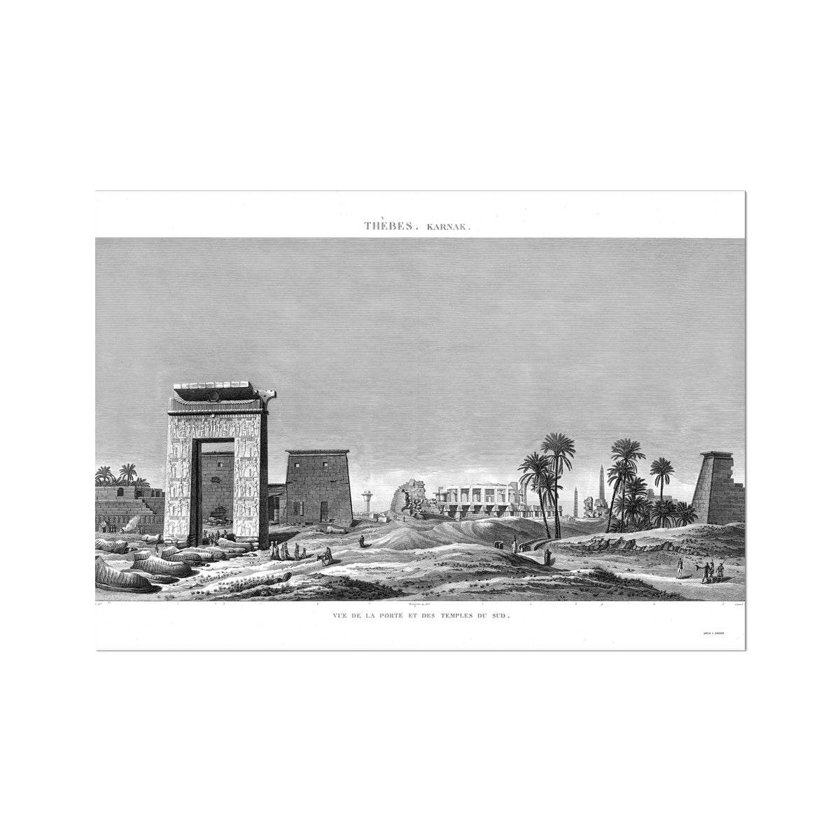 View of the Southern Gates and Temples - Karnak - Thebes Egypt -  Etching Paper Print
